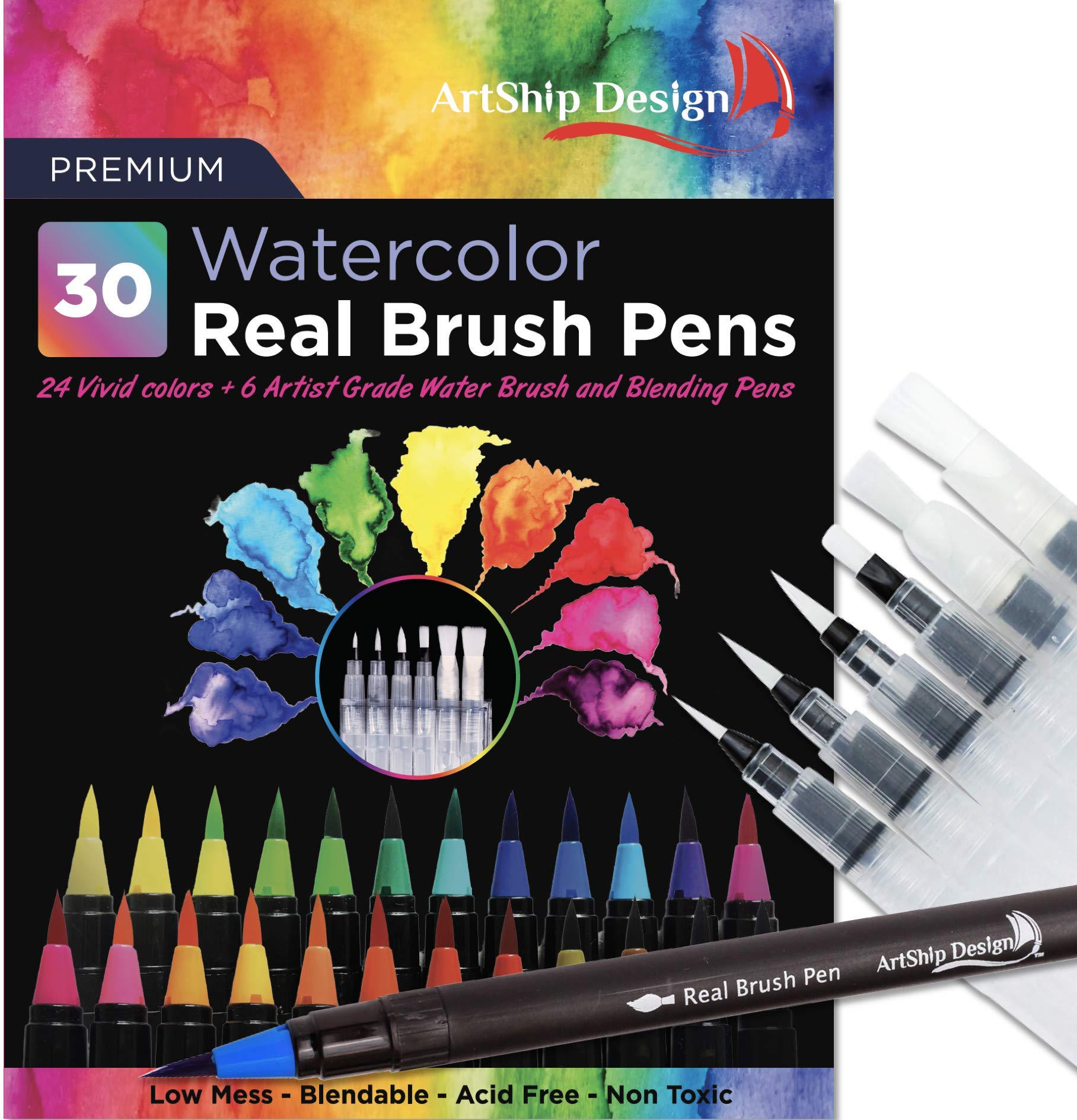 30 Watercolor Brush Pens Combo Pack, 24 Colors 6 Water Brushes, Flexible Real Nylon Brush Tips, for Watercolor Painting Calligraphy Coloring, Beginner or Artist, Portable, Low Mess by ArtShip Design