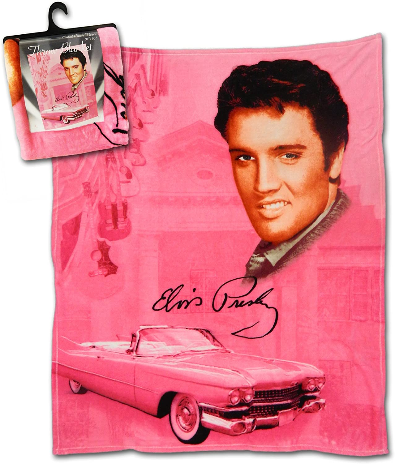 """Midsouth Products Elvis Throw Blanket 50"""" X 60"""" - Pink With Guitars"""