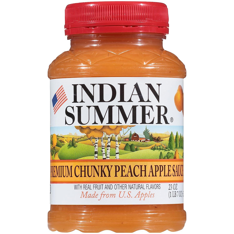 Indian Summer Chunky Peach Applesauce, 23 Ounce (Pack of 6)