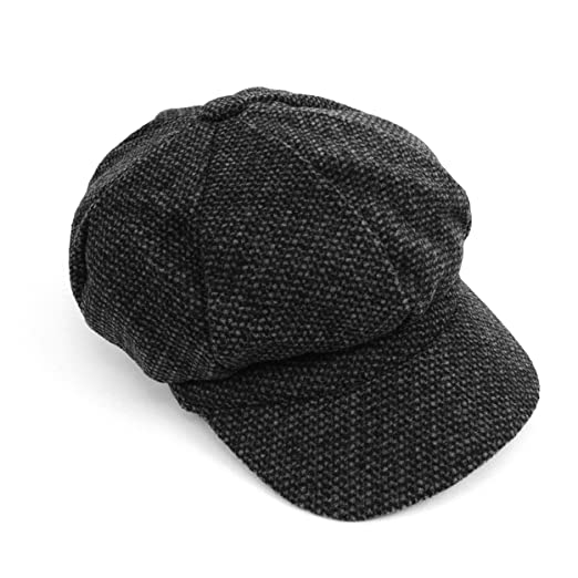 653e25b48089b Woven Vintage Newsboy Cabbie Cap Hat for Men Women Unisex Barleycorn Beret  Style Wool Blend Black