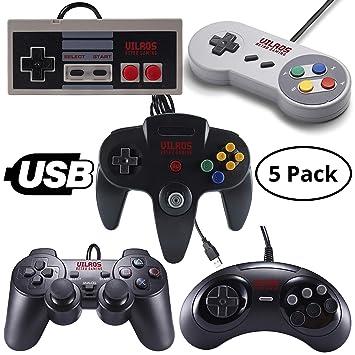 Vilros Retro Gaming 5 USB Classic Controller Set- Nintendo (NES), Super  Nintendo (SNES), Sega Genesis, Nintendo 64 (N64), Playstation 2 (PS2) Great