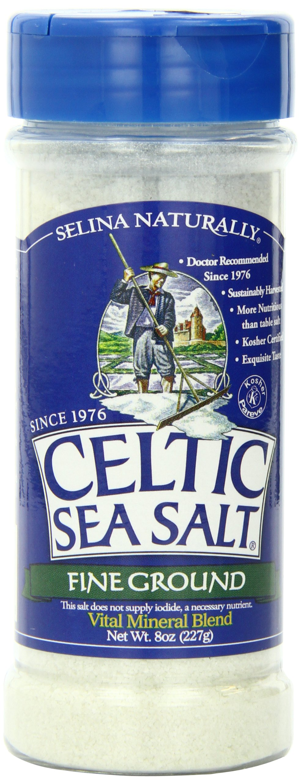 Fine Ground Celtic Sea Salt – (1) 8 Ounce Shaker Jar of Nutritious, Classic Sea Salt, Great for Cooking, Baking, Pickling, Finishing and More, Pantry-Friendly, Gluten-Free, Kosher and Paleo-Friendly