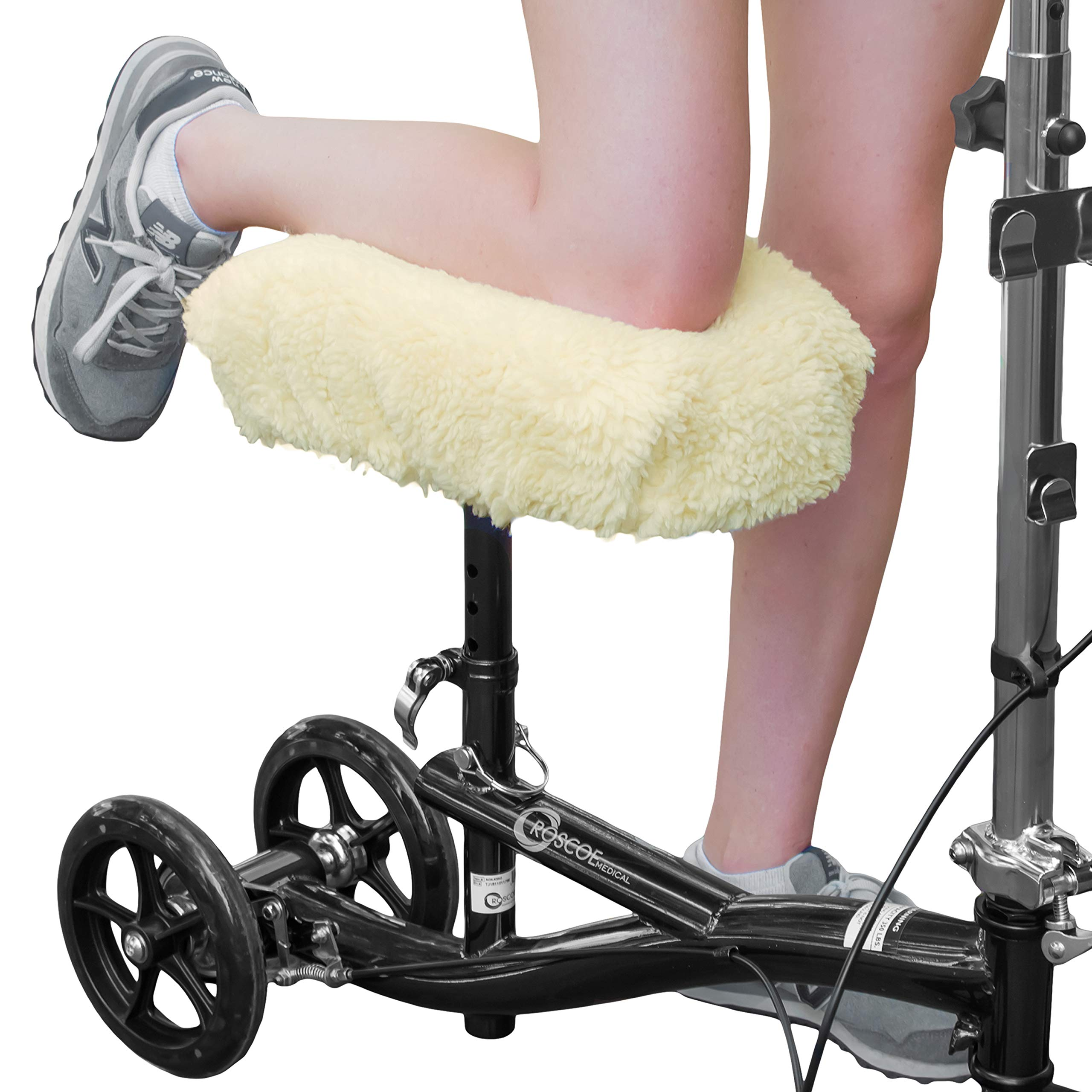 RMS Knee Walker Pad Cover - Plush Synthetic Faux Sheepskin Scooter Seat Cushion - Padded Foam for Comfort During Injury - Washable and Reusable - Fits Most Knee Scooters by RMS Royal Medical Solutions, Inc.