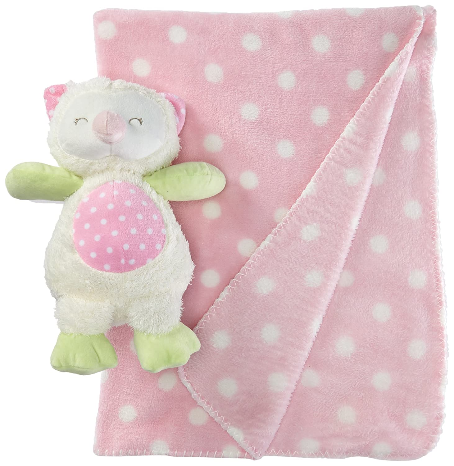 Stephan Baby Sleepy Owl Polka Dot Plush Blanket and 9-inch Plush Owl Gift Set, Pink and White by Stephan Baby