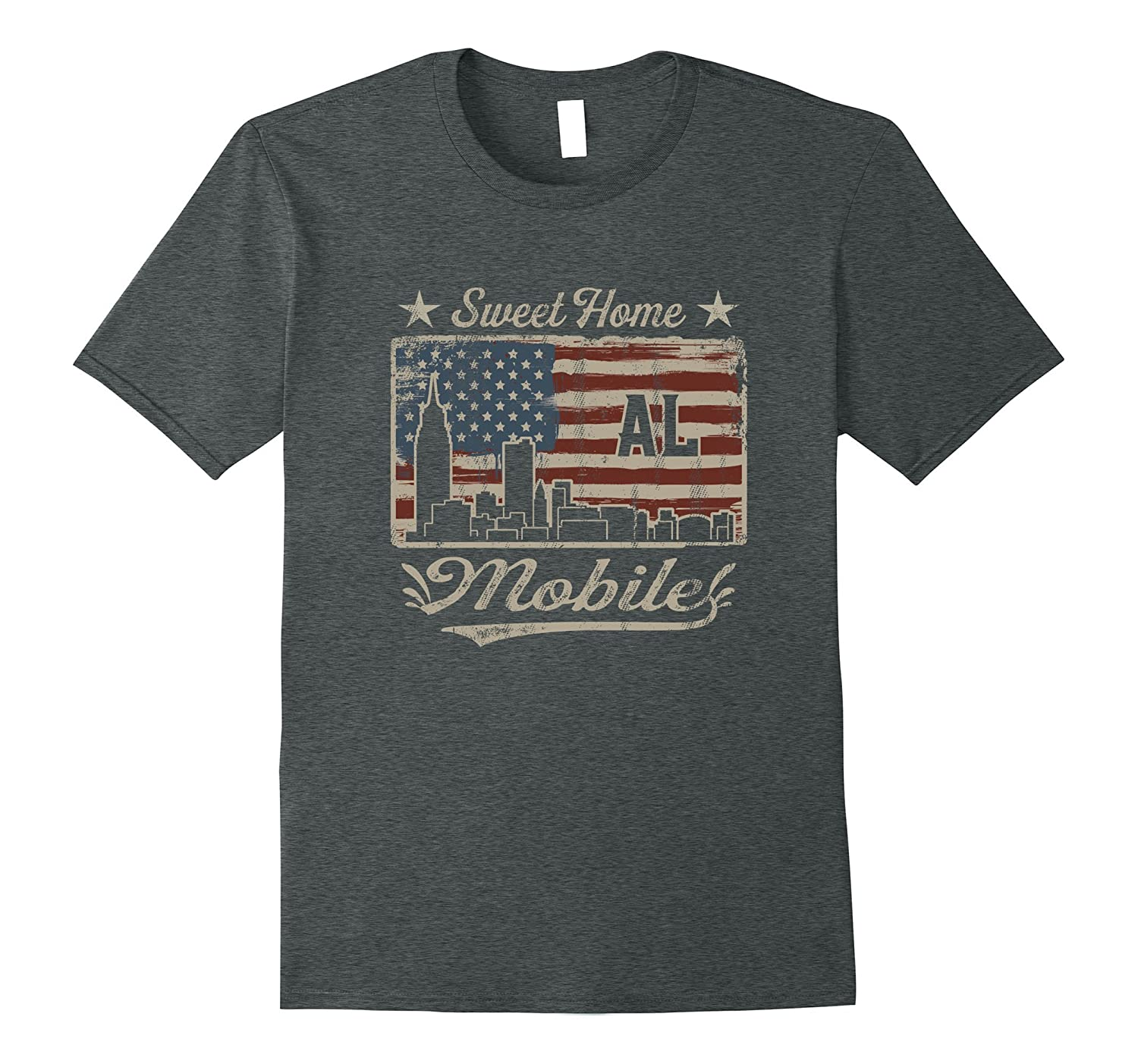 Awesome Mobile Alabama Distressed American Flag T-Shirt-FL