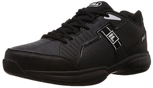 ef22138bd Fila Unisex Lugano Ii Black and White Tennis Shoes -9 UK India(43 EU ...