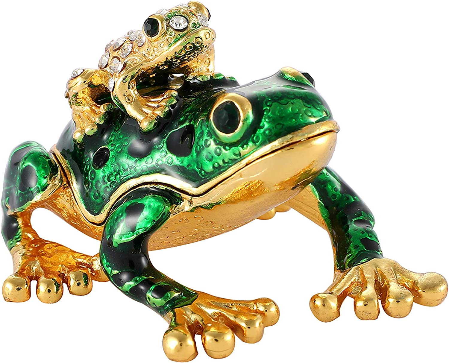 Amazon Com Qifu Hand Painted Gute Frog Jeweled Trinket Box With Hinged Unique Gift For Home Decor Home Kitchen
