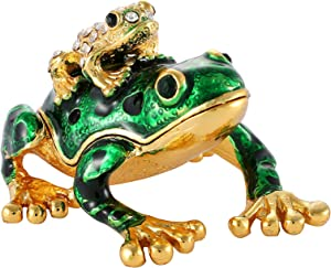 QIFU Hand Painted Gute Frog Jeweled Trinket Box with Hinged Unique Gift for Home Decor