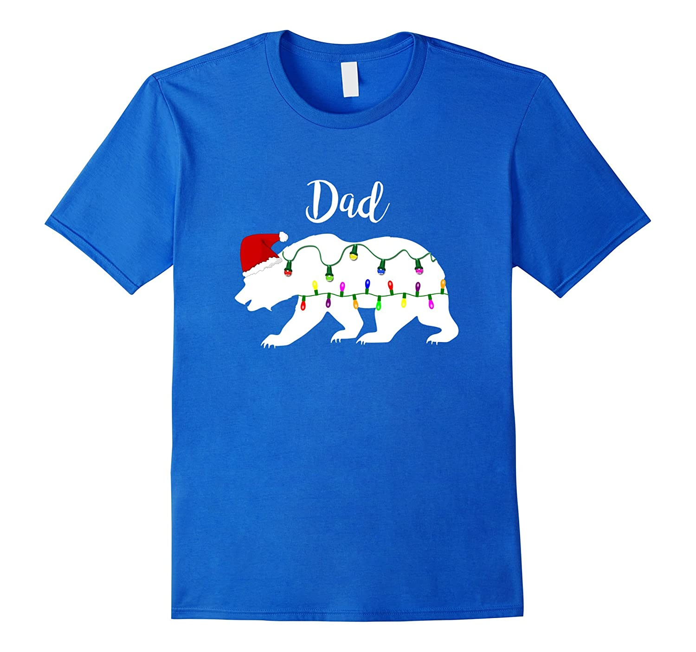 Mens Dad Bear tshirt Christmas Matching Santa Hat Light shirt