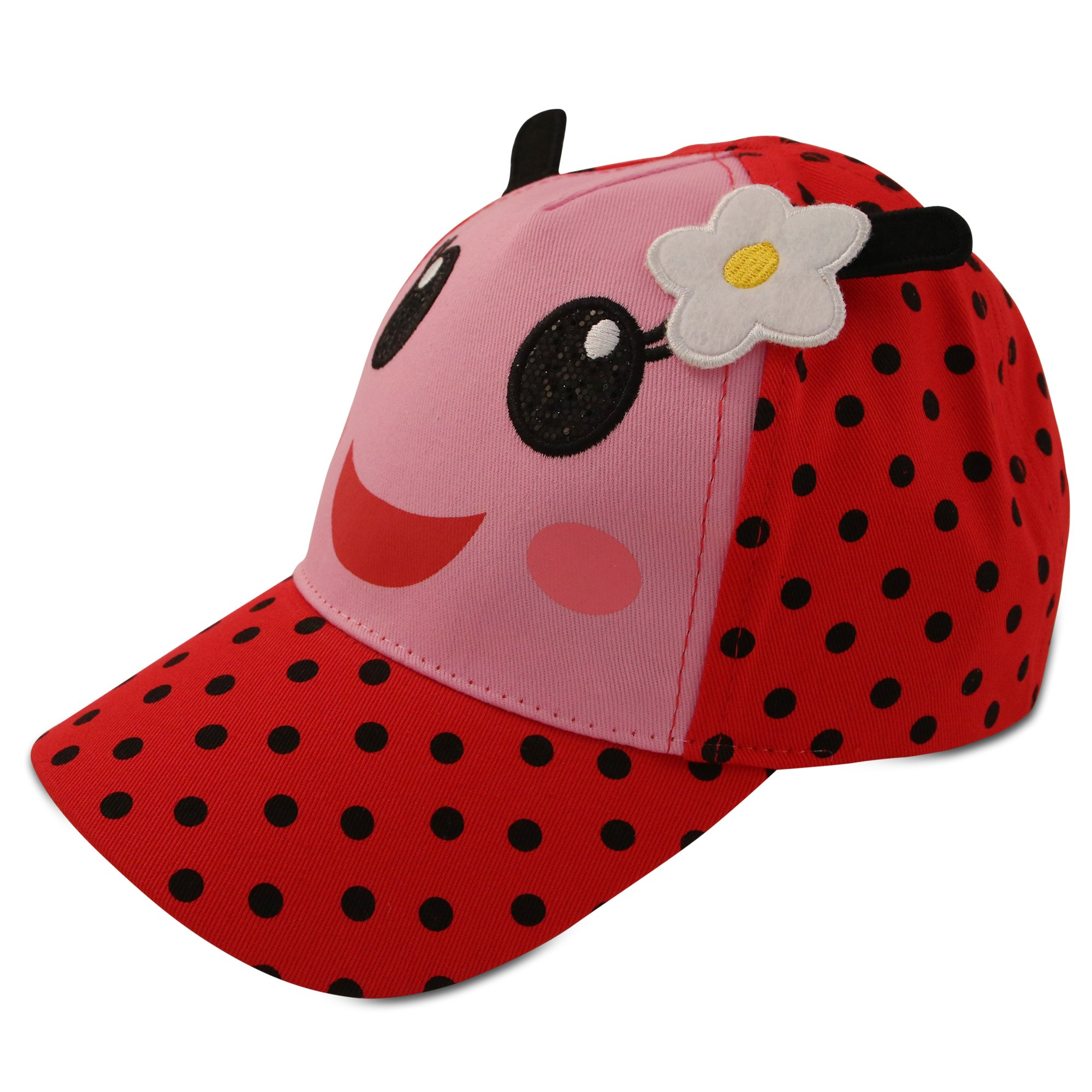 ABG Accessories Toddler Girls Cotton Baseball Cap with Assorted Animal Critter Design, Age 2-4 (Ladybug Design – Red/Black)