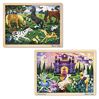 Melissa & Doug Jigsaw Bundle 48pc - Fairy Princess Castle and Horses: Melissa & Doug: Toys & Games