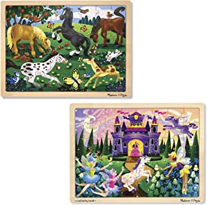 Melissa & Doug Jigsaw Bundle 48pc - Fairy Princess Castle and Horses