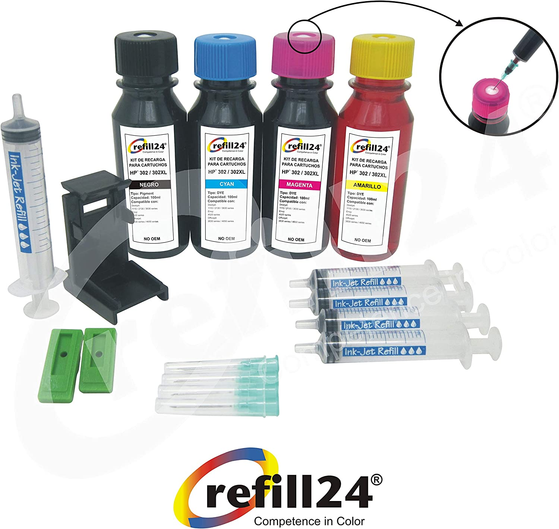Kit de Recarga para Cartuchos de Tinta HP 302, 302 XL Negro y Color, Incluye Clip y Accesorios + 400 ML Tinta: Amazon.es: Electrónica