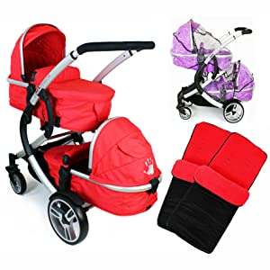 iSafe Tandem Pram me&you - 2 Tone Red + X 2 Foot Muff +x 2 Rain Cover