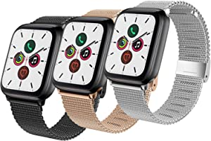YILED Compatible with Apple Watch Band 44mm 42mm 40mm 38mm, Adjustable Stainless Steel Mesh Replacement Wristband Sport Loop Band for iWatch Series 5 4 3 2 1 (3 PACK- Black RoseGold Silver, 38mm/40mm)