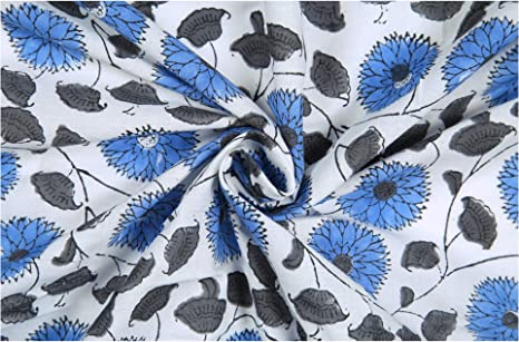 Floral 5 Yard Blue Coloured  Indian Hand Block Print 100/% Cotton Craft Fabric