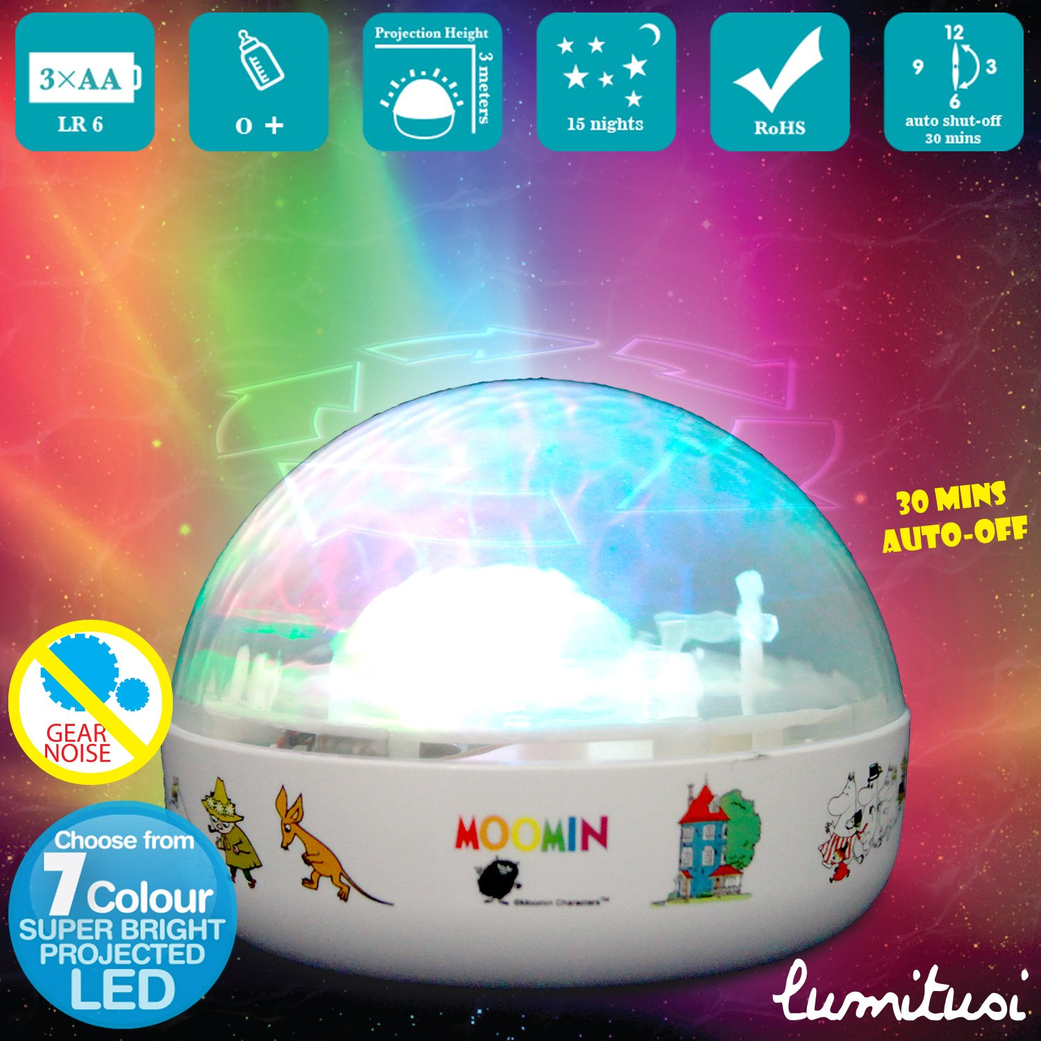Little Twin Stars Touch Active, Easy Clean Twilight Constellation Galaxy Round Projector Night Light by Lumitusi (Little Twin Stars) STR8857B