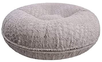 81e31e7b66a3 Bessie and Barnie Signature Serenity Grey Extra Plush Faux Fur Bagel Pet    Dog Bed (