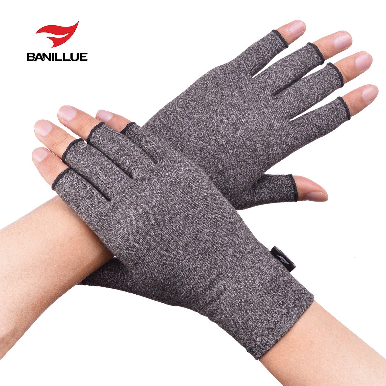 Banillue Compression Arthritis Gloves, Fingerless Hand Gloves for Rheumatoid & Osteoarthritis - Joint Pain and Carpel Tunnel Relief-Men & Women-Large