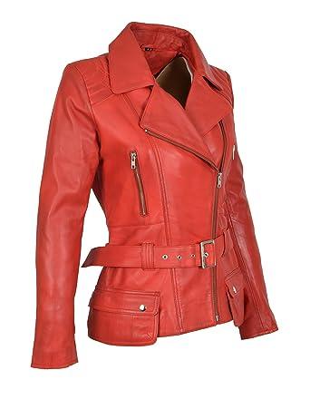 10de0a31f4e Womens Biker Jacket RED Leather Slim Fit Fashion Designer Hip Length ...