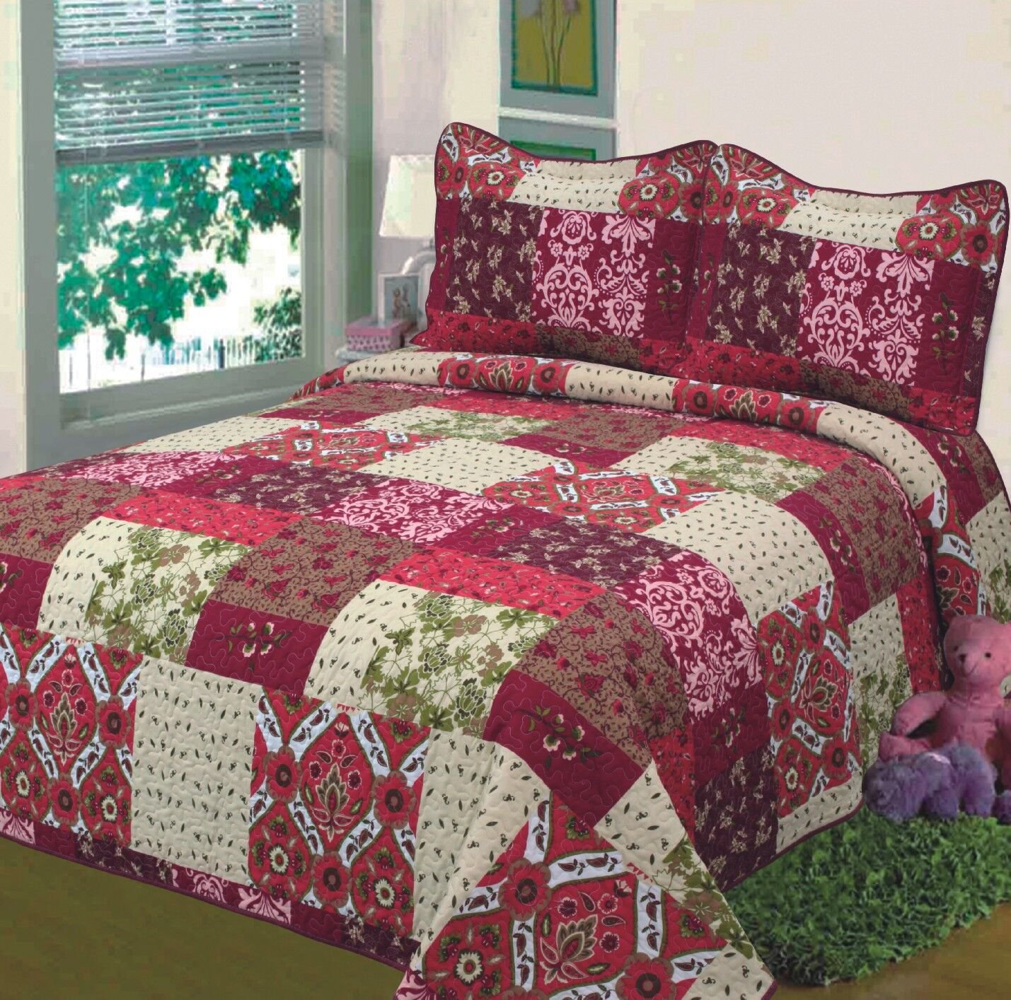 Fancy Collection 3pc Bedspread Bed Cover Floral Beige Red Green Brown Burgundy