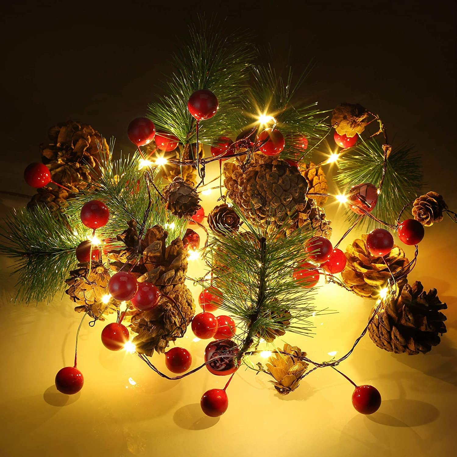 6.5FT Christmas Garland with Lights for Fireplace Mantle Home Christmas Decorations - Red Berry Pine Cone Xmas Lighted Garland String 20 LED Battery Operated Indoor Outdoor Holiday New Year Decor