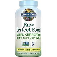 Garden of Life Raw Perfect Food Green Superfood Saft Green Pulver Kapseln – 30 Portionen ohne GVO, Glutenfrei, vegane Vollnahrungsmittel, Organische Grünen, Saftsprobiotika, 240 ct