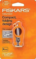 Fiskars 01-005434 Travel Folding Scissors, 6 Inch, Orange