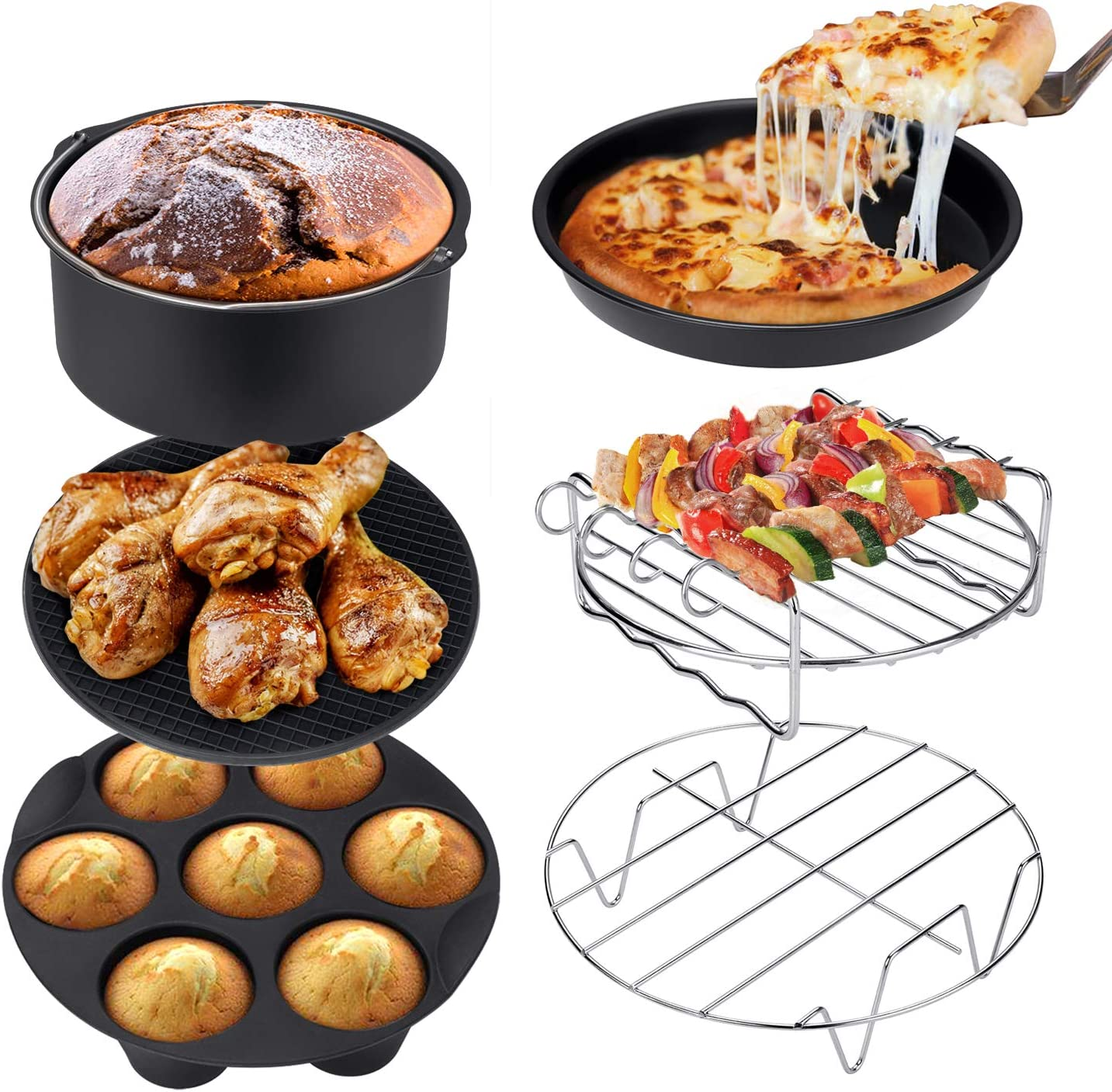 Ultrean Air Fryer Accessories,Set of 6 Fit All 5.8Qt,6Qt Air Fryers,BPA Free,Non-Stick,Dishwasher Safe,XL