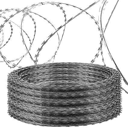 Amazon.com : LOVSHARE 5 Rolls Razor Wire Each Coils 50 FT Ribbon ...