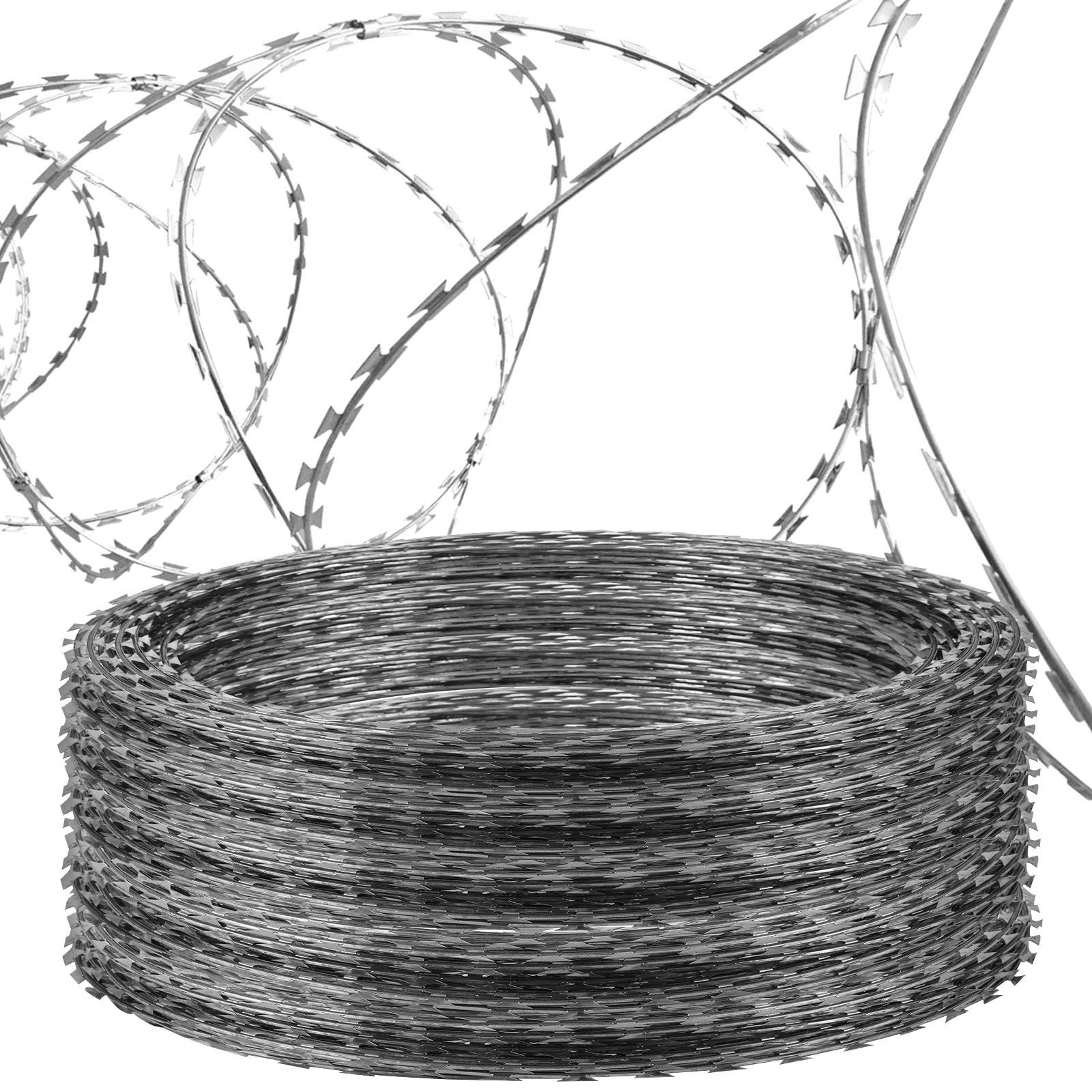 LOVSHARE 5 Rolls Razor Wire Each Coils 50 FT Ribbon Barbed 18'' Diameter Razor Ribbon Helical Barbed Wire