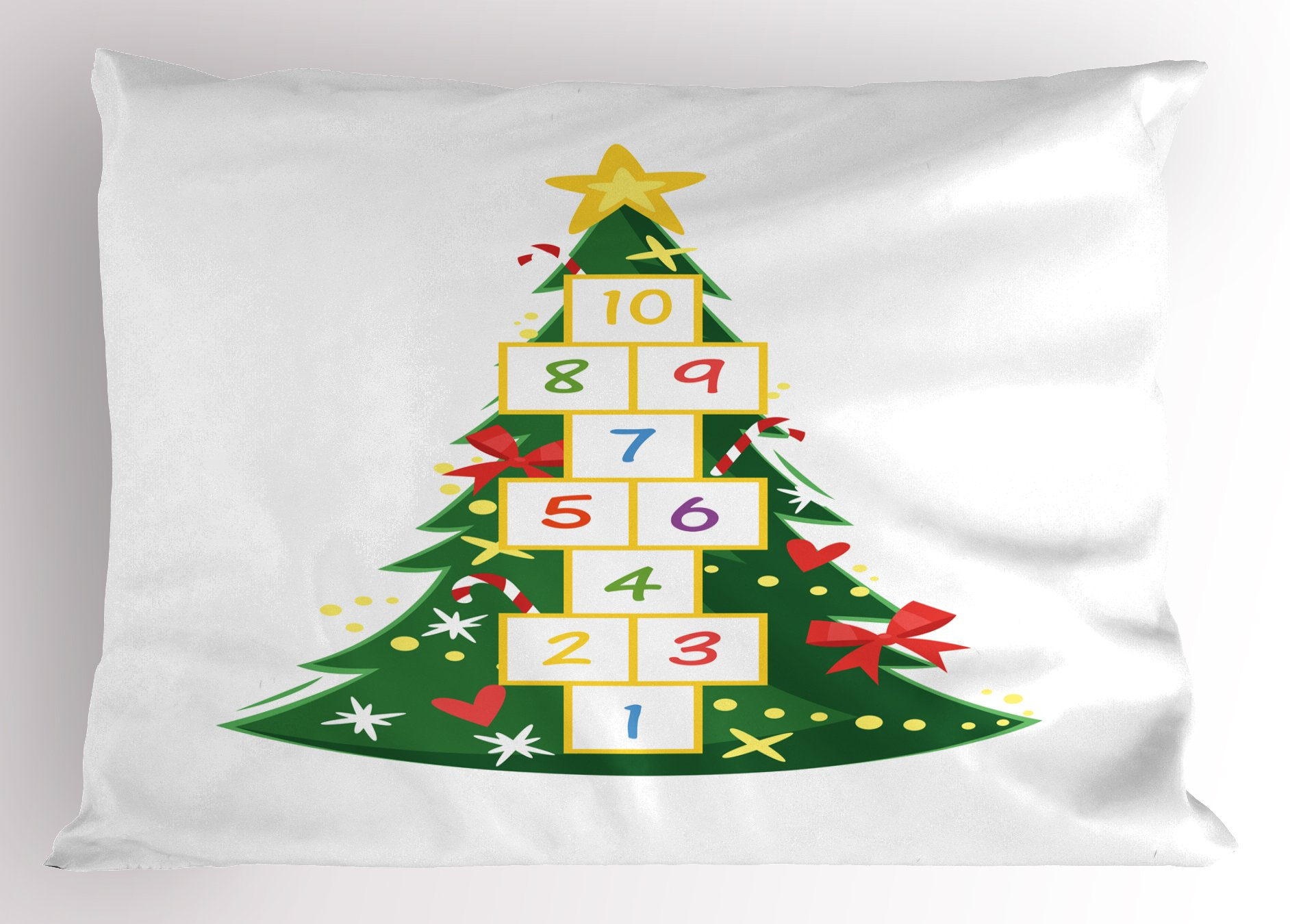 Lunarable Christmas Pillow Sham, Colorful Composition of Pine Tree with Ribbons Dots and Hopscotch Game Pattern, Decorative Standard Size Printed Pillowcase, 26 X 20 Inches, Multicolor