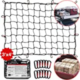 TireTek Roof Rack Cargo Net for Cars & SUVs - 3' x 4' Stretches to 6' x 8'- Small Cargo Net for Pickup Truck Bed w/ 12…
