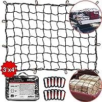 $28 » TireTek Roof Rack Cargo Net for Cars & SUVs - 3' x 4' Stretches to 6' x 8'- Small Cargo Net…