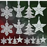 Clear Glittery Ornament Set - Pack of 16 Assorted Christmas Ornaments - Snowflakes, Angels, Trees and Stars - Acrylic Christmas Decorations