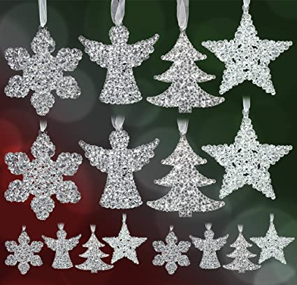 clear glittery ornament set pack of 16 assorted christmas ornaments snowflakes angels - Amazon Christmas Ornaments