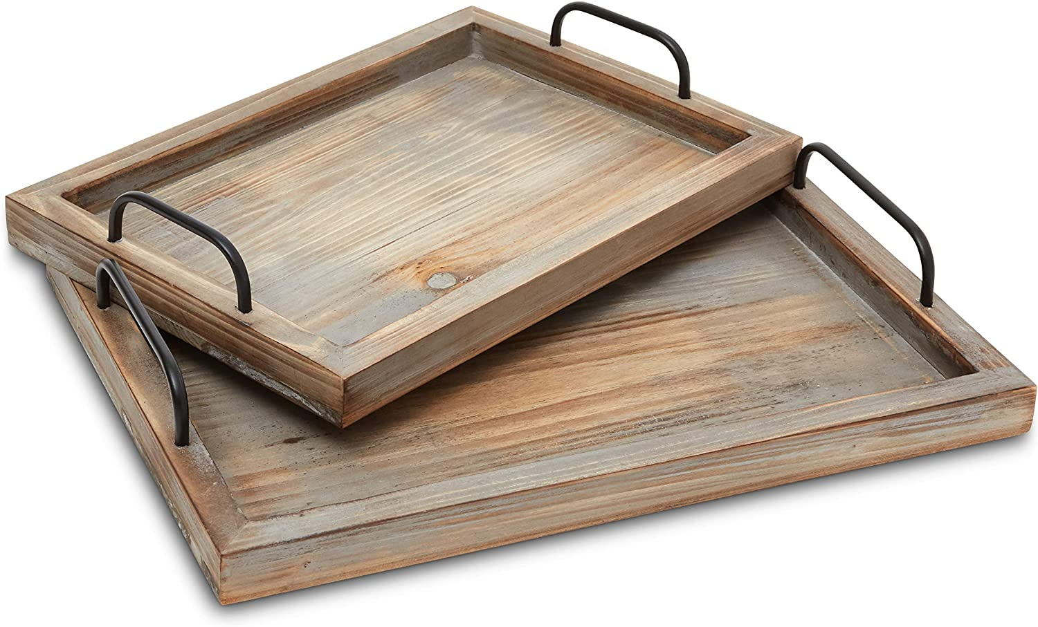 Decorative Ottoman Serving Tray - Kitchen/Coffee Table/Home Decor/Breakfast Trays - Wooden Server Platter - Rustic Country Platters - Wood Server - Farmhouse Decor - Kitchen Decor - Wood Platter