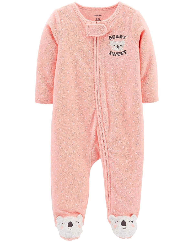 Carters Schlafanzug Koala Frottee US Size 56 62 68 Strampler Baby M/ädchen Einteiler mit Rei/ßverschluss US Size 3 6 Month Girl