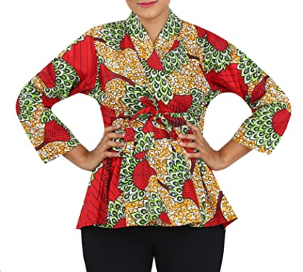c310b1051d6 Decoraapparel Women African Traditional Stylish Cotton Wax Blouse Ankara  Shirt Jacket Blazer Short Dress Long Sleeve