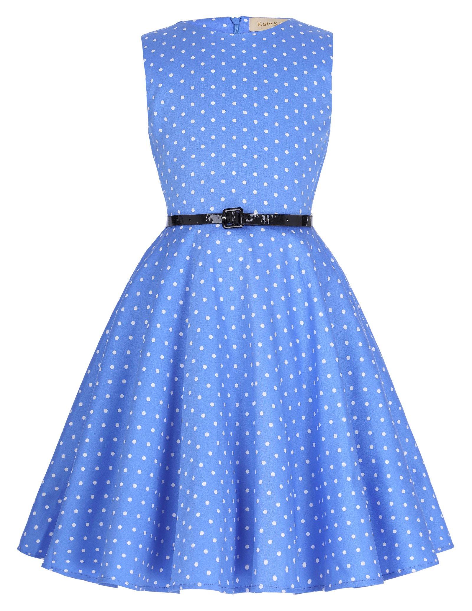 dab4d49d40 Kate Kasin Vestido Vintage Estampado de Niñas Años 50 para Fiesta Cóctel  Vestido Algodón de Verano