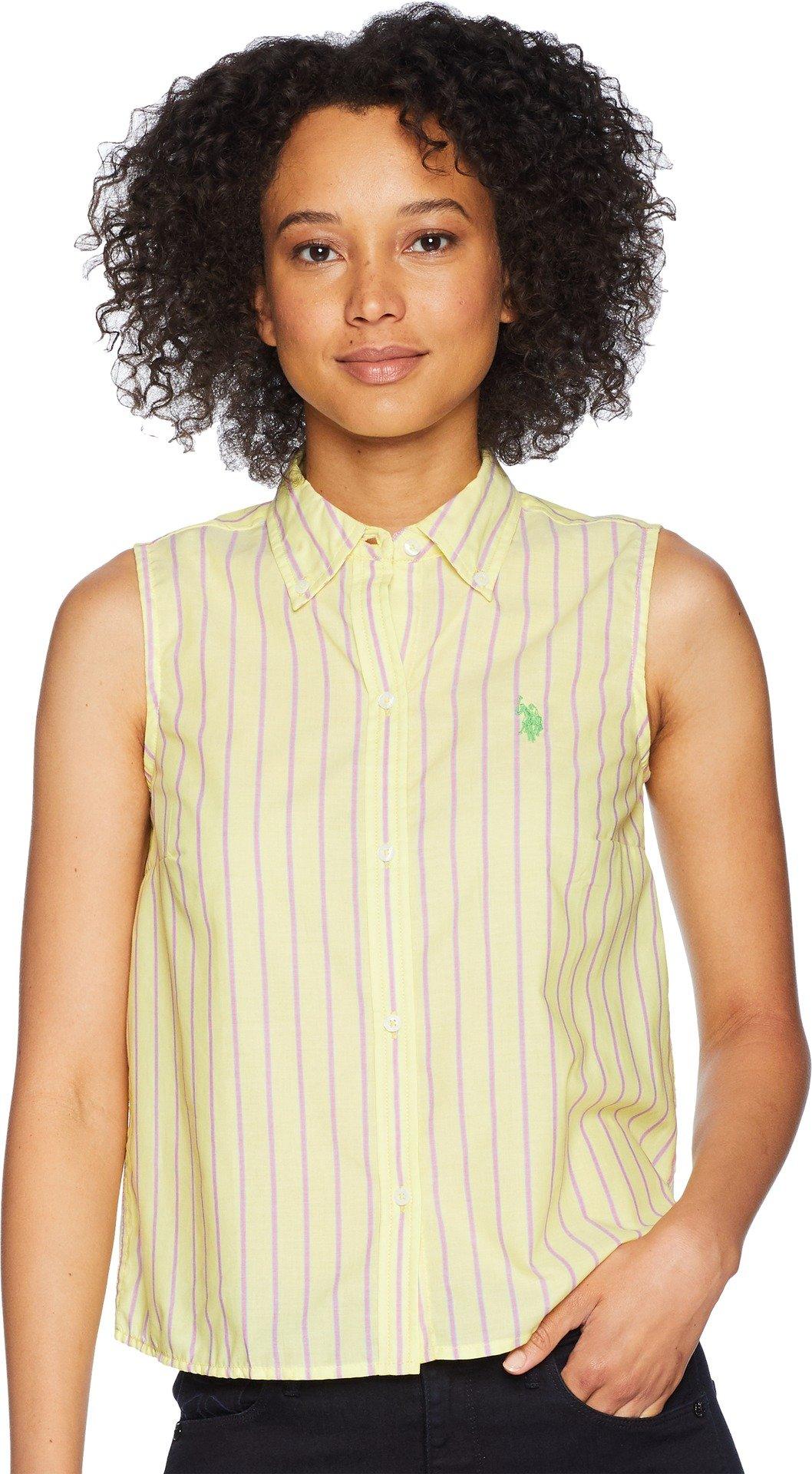 US Polo Assn Women's Sleeveless Poplin Shirt, Pineapple Colada BBMC, XL