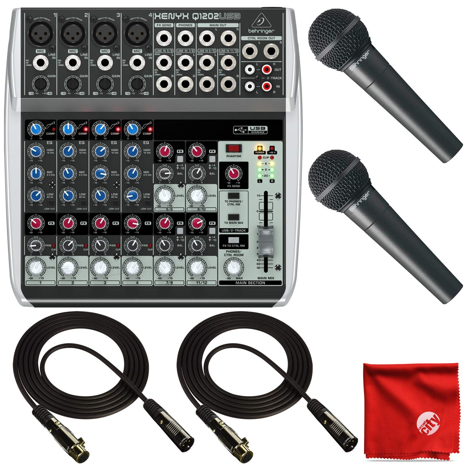 Behringer Q1202USB 12-Channel Mixer Bundle with 2X XM8500 Dynamic Microphones and 2X 10' XLR Cable and Circuit City Microfiber Cleaning Cloth.