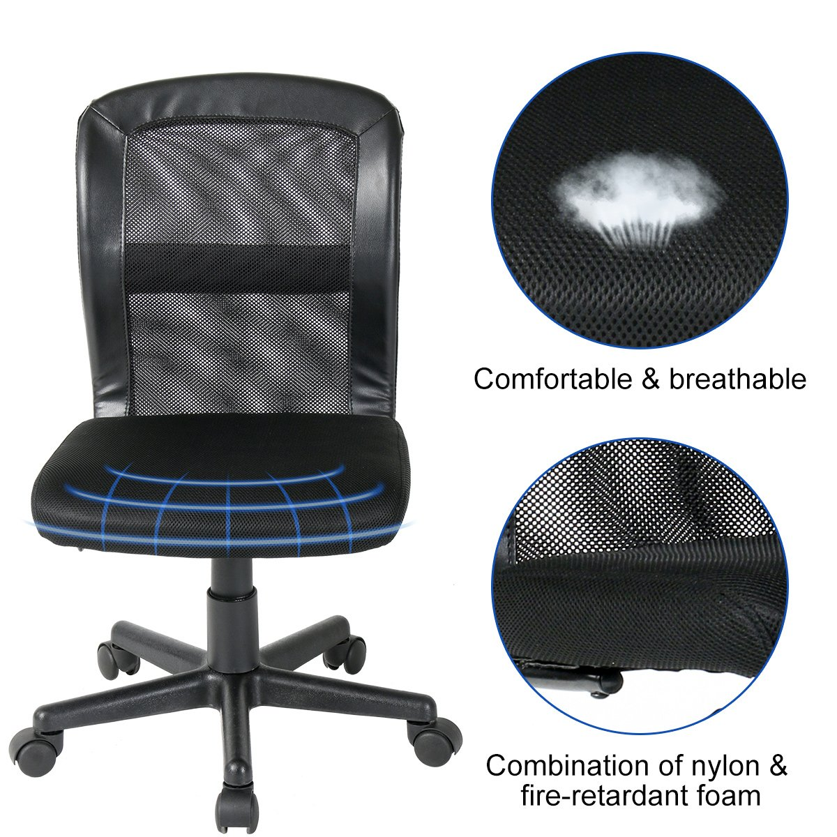 B2C2B Leather Executive Office Chair Computer Desk Chair Ergonomic Adjustable Racing Chair Task Swivel Chair Headrest and Lumbar Support Black