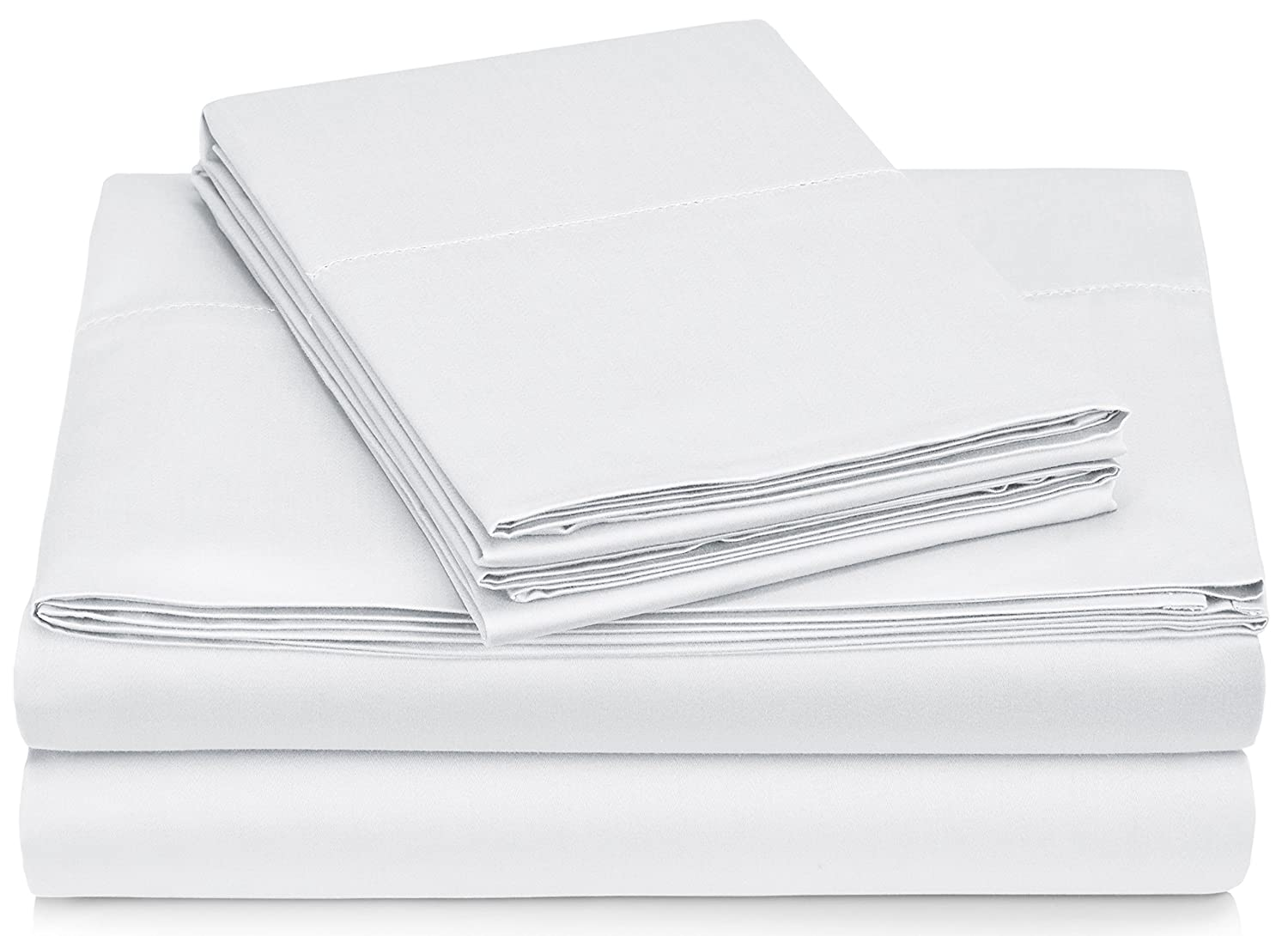 Pinzon 400 Thread Count Egyptian Cotton Sateen Hemstitch Sheet Set - King, White
