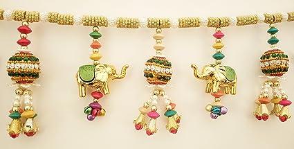 Jay Maharaj Home Decor - Door Hanging - Traditional Multicolor Handmade Elephant Toran From Jm