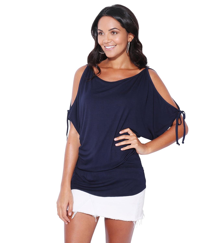 KRISP Womens Basic Cold Shoulder Cut Out Tunic Top Plus Size 3895