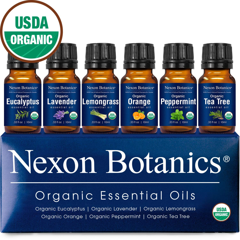 Nexon Botanics Organic Essential Oil Set - Pure Natural USDA Organic Essential Oils Kit - Best Aromatherapy, Diffuser Oils Set - Lavender, Peppermint, Eucalyptus, Tea Tree,Orange,Lemongrass 6 x 10 ml