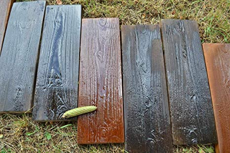 2 Molds Old Wooden Boards Concrete Mould Garden Stepping Stone Path Patio  #S05