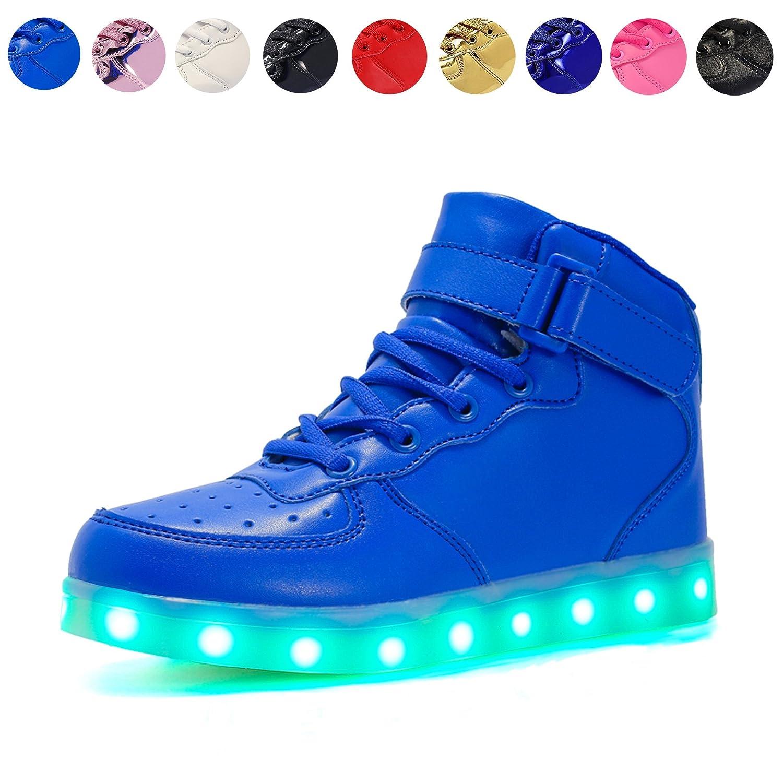 Voovix Kinder High-Top LED Licht Blinkt Sneaker mit Fernbedienung-USB Aufladen LED Schuhe für Jungen und Mädchen (Rosa, EU25/CN25)
