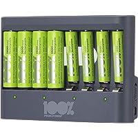 100% Peak Power batterij oplader U812 - Duurzame Keuze - USB batterijlader incl. oplaadbare batterijen NiMH batterij 4 x…